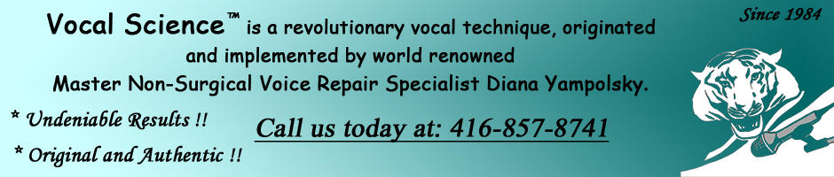 Singing Lessons, Vocal Coaching, Non-Surgical Voice Repair, Based out of Toronto